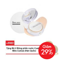 Phấn Nước April Skin Magic Snow Cushion White SPF50+/PA+++ 15g #21 Light Beige + Tặng Bộ 2 Bông phấn Cushion Mira Culous (Hàn Quốc)V