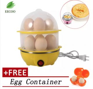 220V Multi-functional Electronic Eggs Boiling Cooker Double-Layer Kitchen Steamer- Yellow [Buy 1 Get 1 Free Egg Carrier] - intl