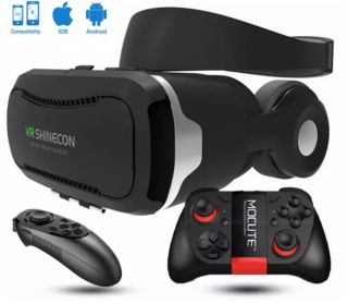 "Shinecon VR 4.0 Virtual Reality 3D Glasses Headset VR BOX +Headphone/Mic for 4.7-6.0"" Mobile Smartphone +2 pcs gamepad - intl"